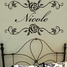 Personalized Rosevine Monogram Wall Decal