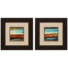 Sunset Horizon 2 Piece Framed Painting Print Set