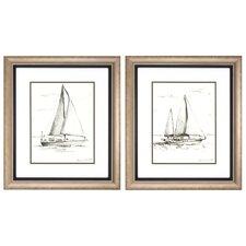 Coastal Boat Sketch 2 Piece Framed Painting Print Set