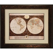 Map of The World Framed Painting Print
