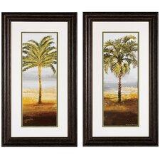 Beach Palm I / II 2 Piece Framed Painting Print Set