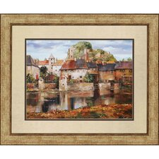 European Village Reflection by Duvall Framed Painting Print
