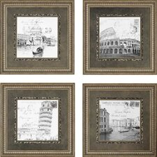 Europe by Various 4 Piece Framed Graphic Art Set