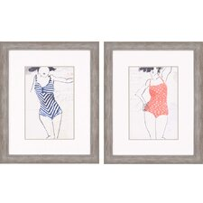 Vintage Bathers II 2 Piece Framed Painting Print Set