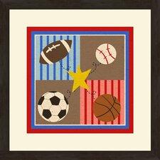 2 Piece 4 Sports Framed Art Set