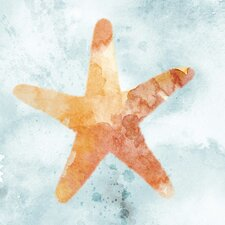 Water Color Starfish with Glass Coat Painting Print on Wrapped Canvas