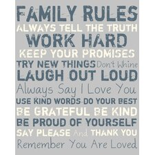 Family Rules Textual Art on Canvas
