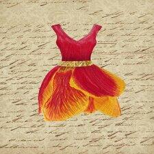 Crimson Tulip Dress II Framed Graphic Art on Canvas