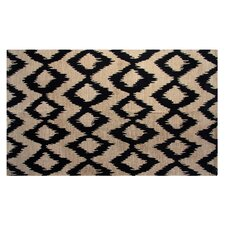 Printed Navy Ikat Outdoor Area Rug