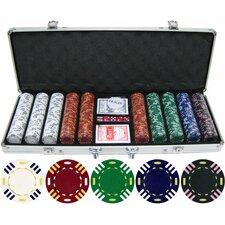500 Piece Triple Striped Clay Poker Chip Set