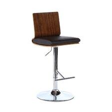 Adjustable Height Swivel Bar Stool with Cushion & Wood Frame