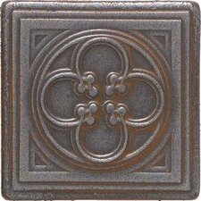"""Castle Metals 2"""" x 2"""" Clover Dot Decorative Accent Tile in Wrought Iron"""