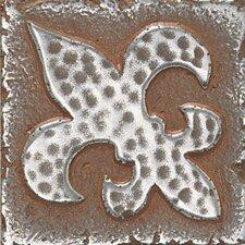 """Metal Signatures Fleur de Lis 2"""" x 2"""" Decorative Tile in Aged Iron"""
