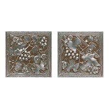 "Metal Signatures Trellis 6"" x 6"" Decorative Tile in Aged Iron (Set of 2)"