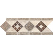 "Fashion Accents 11"" x 4"" Decorative Burnished Accent Tile in Honed Light"