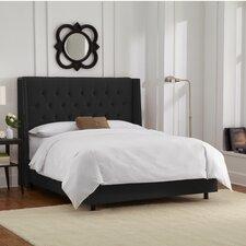 Velvet Upholstered Wingback Panel Bed