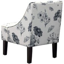 Swoop Arm Chair in Black & White Floral