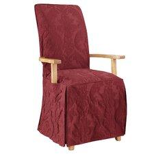 Matelasse Damask Arm Long Chair Slipcover