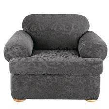 Stretch Jacquard Damask Chair T-Cushion Slipcover