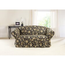 Onyx Loveseat One Piece Box Cushion Skirted Slipcover