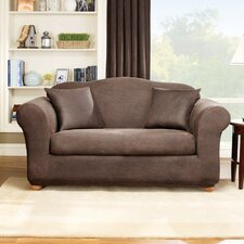 Stretch Leather Two Piece Loveseat Slipcover in Brown (Box Cushion)