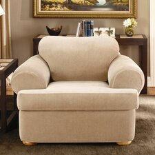 Stretch Stripe Two Piece Chair Slipcover in Sand (T-Cushion)