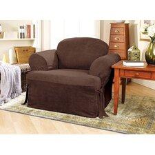Soft Suede Club Chair T-Cushion Slipcover