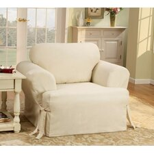 Cotton Duck T-Cushion Slipcover for Chair in Natural