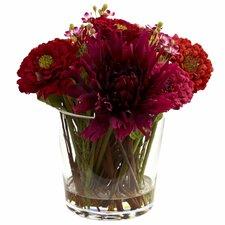 Mixed Zinnia Floral Arrangement with Decorative Glass Vase
