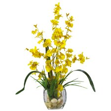 Liquid Illusion Dancing Lady Silk Orchids in Yellow with Vase