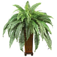 Silk Boston Fern Floor Plant in Decorative Vase