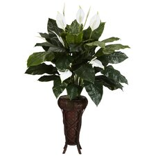 Spathyfillium Stand Silk Floor Plant in Decorative Vase