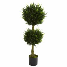 Nearly Natural Double Ball Cypress Round Topiary in Pot