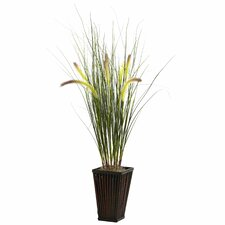 Nearly Natural Grass Desk Top Plant in Planter