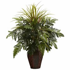 Nearly Natural Mixed Grass and Fern Desk Top Plant in Planter