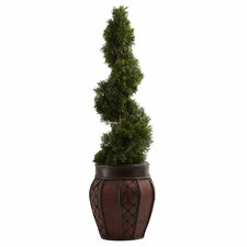Nearly Natural Cedar Spiral Round Tapered Topiary in Planter