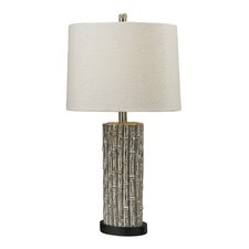 """Silver Bamboo 27"""" H Table Lamp with Drum Shade"""