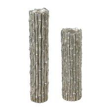 2 Piece Bamboo Pillar Candlestick Set