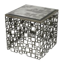 Alvis Metal and Antique Mirror Side Table