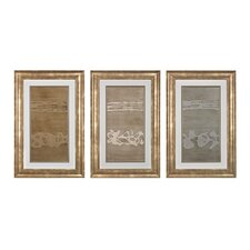 Metal Alloy in Champagne Wall Art (Set of 3)
