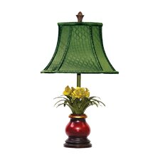 "Flowers in Ruby 21.5"" H Table Lamp with Bell Shade"