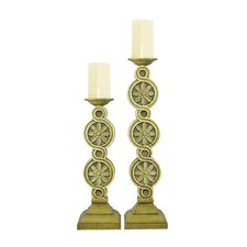Medallion Scroll Candlesticks (Set of 2)