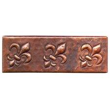 "Fleur De Lis 6"" x 2"" Copper Border Tile in Dark Copper"