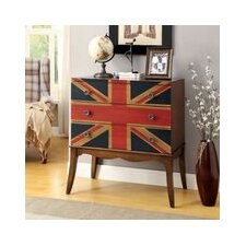 Union Jack Flag Print 3 Drawer Chest