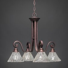 Curl 4 Light Chandelier with Italian Ice Glass