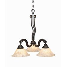 Wave 3 Light  Chandelier with Italian Marble Glass Shade