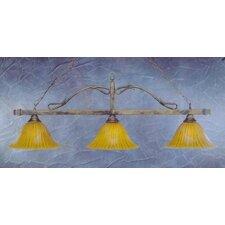 3 Light Wrought Iron Rope Kitchen Island Pendant