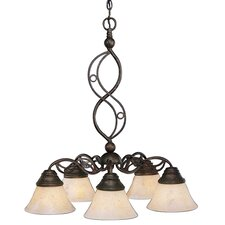 Jazz 5 Light  Chandelier with Italian Marble Glass Shade