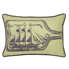 Nauticals Ship In A Bottle Lumbar Pillow