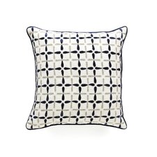Petal Flower Embellished Linen Throw Pillow